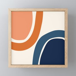 Abstract Shapes 34 in Burnt Orange and Navy Blue Framed Mini Art Print
