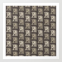 Mid Century Horse Pattern Neutral Art Print