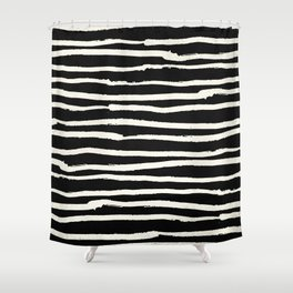 Hand Drawn Stripes on Black Shower Curtain