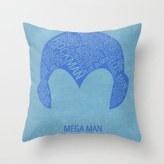 Mega Man Typography Throw Pillow
