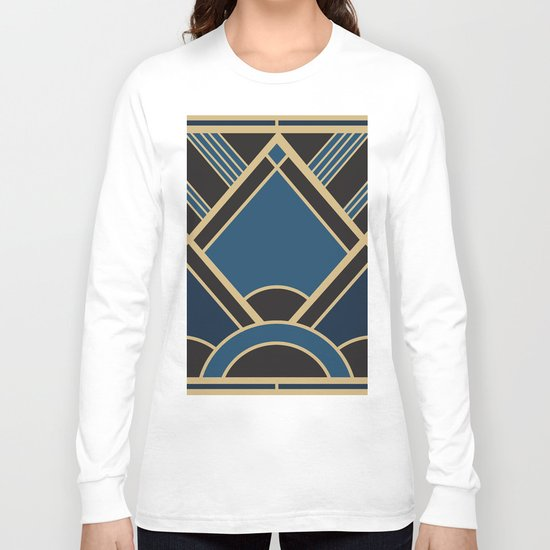 Art Deco New Tomorrow In Blue Long Sleeve T-shirt