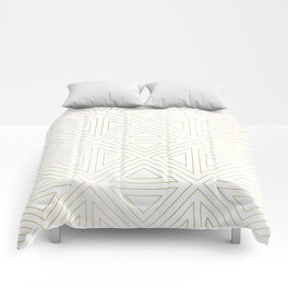 Angled White Gold Comforters