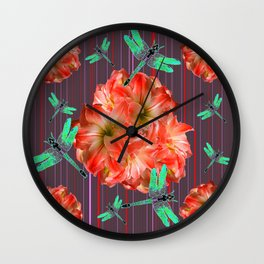 Green Dragonflies Pink Flower Ball Art Wall Clock