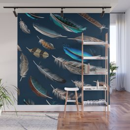 Feather blue. In fashion. Trendy pattern Wall Mural