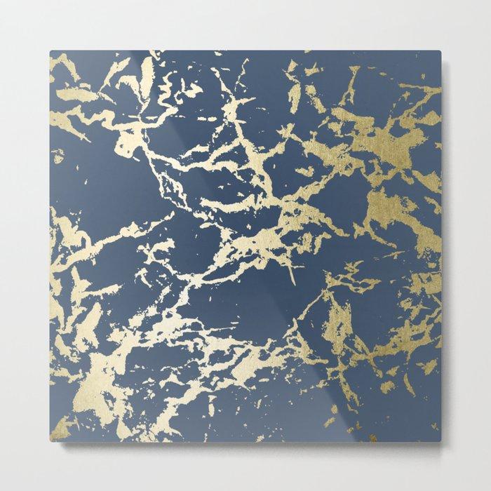 Kintsugi Ceramic Gold on Indigo Blue Metal Print