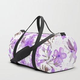 Watercolor lavender lilac brown modern floral Duffle Bag