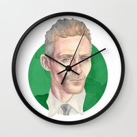 tom hiddleston Wall Clocks featuring Hiddleston by Megan Diño