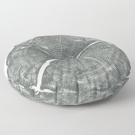 Locust Tree ring image, woodcut print Floor Pillow