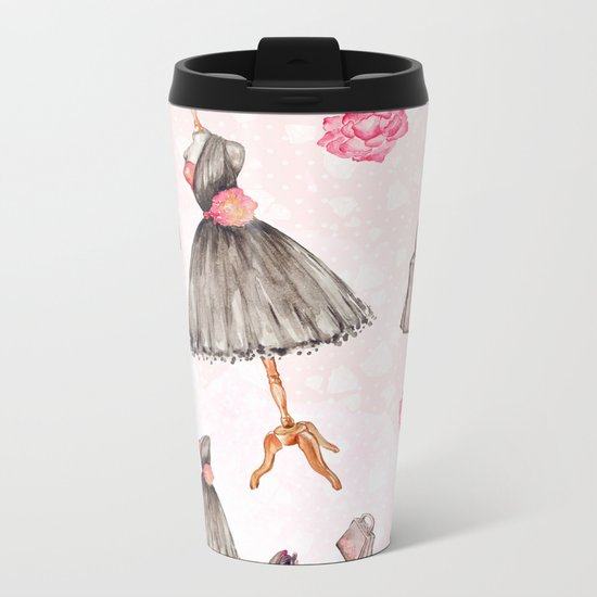 Black dress fashion #1 Metal Travel Mug