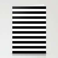 stripes Stationery Cards featuring Horizontal Stripes (Black/White) by 10813 Apparel