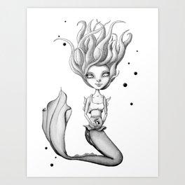 Mermie and Her Pet Fish Art Print