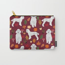 Poodle fall autumn leaves acorns pinecones cute standard white poodles Carry-All Pouch