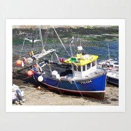 Fishing boat at Boscastle harbour Art Print