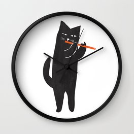 Black cat with flute Wall Clock