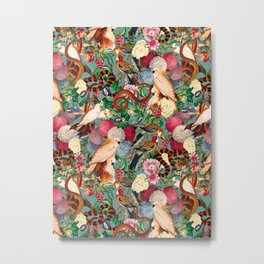 Floral and Animals pattern Metal Print