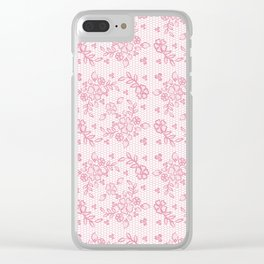 Elegant stylish dusty pink white floral lace Clear iPhone Case