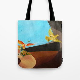 Old man painting pigeons children's book illustration Tote Bag