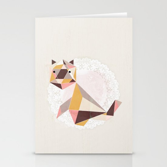 Geometric Cat Stationery Cards