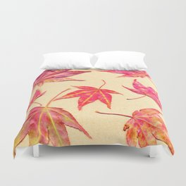 Japanese maple leaves - coral red on pale yellow Duvet Cover