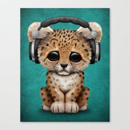 Cute Leopard Cub Dj Wearing Headphones on Blue Canvas Print