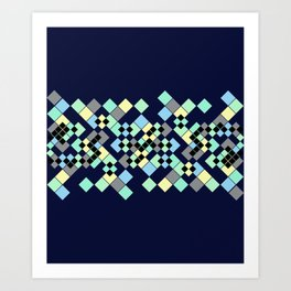 Abstract geometric pattern. Small colored squares in dark blue. Art Print