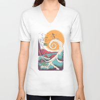 friends V-neck T-shirts featuring Surf Before Christmas by Victor Vercesi