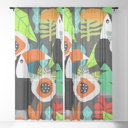 Tropical vibe with toucans Sheer Curtain