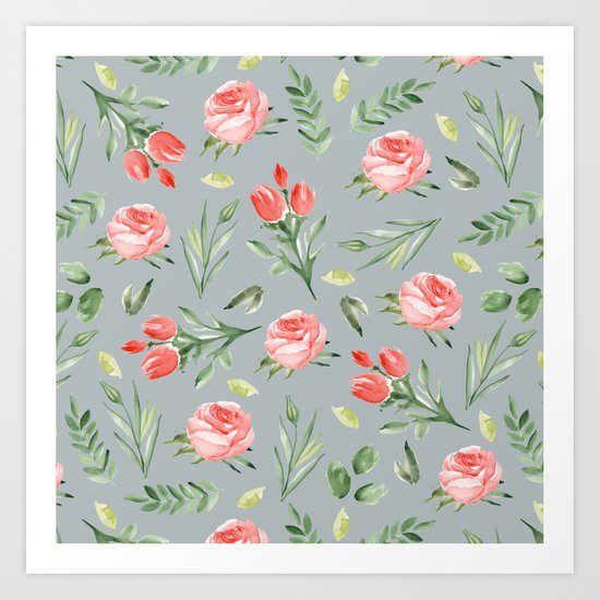 Roses. Grey pattern Art Print
