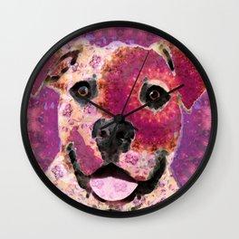 Mandala Pit Bull Dog - Sharon Cummings Wall Clock