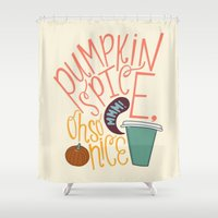spice Shower Curtains featuring Pumpkin Spice by Chelsea Herrick