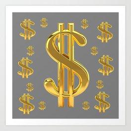 GOLDEN MONEY DOLLARS & CHARCOAL GREY  PATTERN MODERN ART Art Print