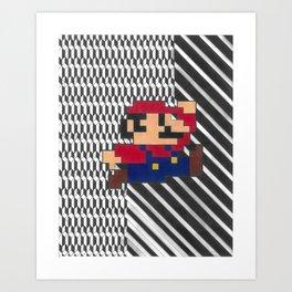 Pixellated Mario Bros Art Print