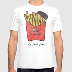 French Fries White Mens Fitted Tee LARGE