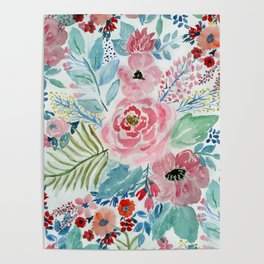 Pretty watercolor hand paint floral artwork. Poster