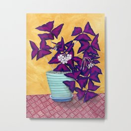 Purple Shamrock Houseplant Painting Metal Print