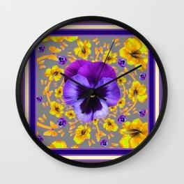 PUCE PANSIES YELLOW BUTTERFLIES & FLOWERS Wall Clock