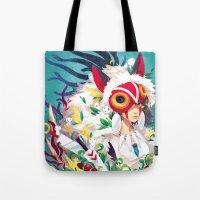 princess mononoke Tote Bags featuring Princess Mononoke by Stephanie Kao