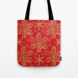 DP044-2 Gold snowflakes on red Tote Bag