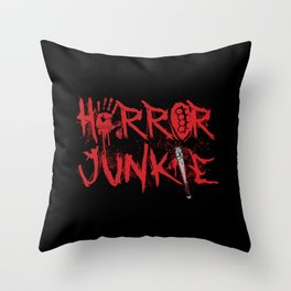 Scary Movie Horror Junkie Blood Throw Pillow