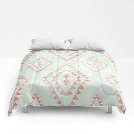 mint & coral tribal pattern Comforters