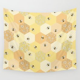 Patchwork Bees Pattern Wall Tapestry