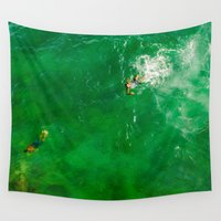 swimming Wall Tapestries featuring Swimming by Carloe