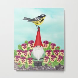 gnome with magnolia warbler and pansies Metal Print