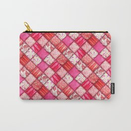 Faux Patchwork Quilting - Pink and Red Carry-All Pouch