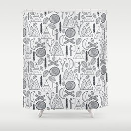 Camping Adventure in Black Shower Curtain