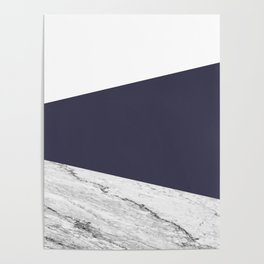 Marble Eclipse blue Geometry Poster