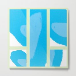 Expressive Windows of Blue and Green Metal Print