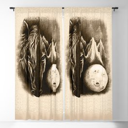 The Dark Side - Surreal Black Horse and Moon Blackout Curtain