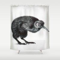 kiwi Shower Curtains featuring Kiwi by Laura Usowski