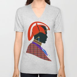 massai warrior digital design zolliophone shop Unisex V-Neck